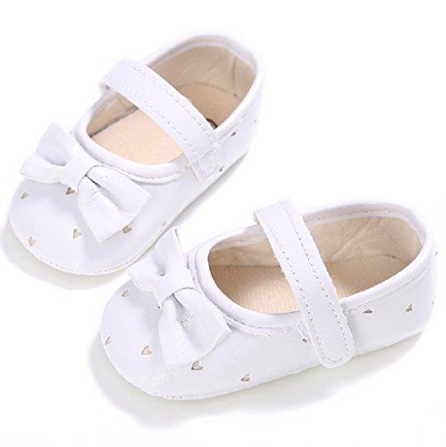 Primeros zapatos para caminar,Auxma Zapatos de cuero de la PU del Bowknot de la niña,Zapatillas antideslizantes suaves Sole Toddler primavera otoño zapatos Blanco