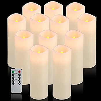 "Comenzar Flameless Candles, Battery Operated 6"" Candles Set Of 12(d2.2 X H6 Pillar Real Wax Led Candles With Remote Timer By (Ivory) 6"