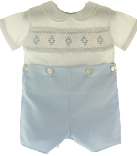 Feltman Brothers Blue White Smocked Bobbie Suit Boys Christening Outfit ()