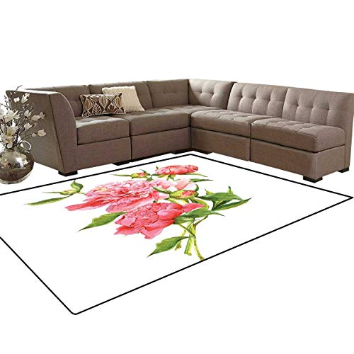 Watercolor Door Mats Area Rug Pink Peonies with Strong Green Leaves Ecology Flourish Nature Inspired Bouquet Anti-Skid Area Rugs 6'x9' Pink Green