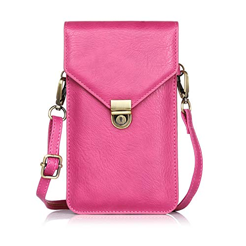 Small Women Cellphone Purse Wallet Crossbody Shoulder Bag with 2 Pouches Card Pocket For Travel Work Shopping (Hot Pink) (Cell Phone Orgainzer)