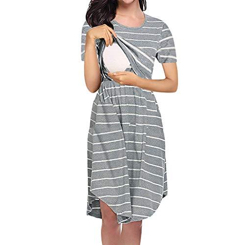 Sherostore ♡ Maternity Dress Women's Short Sleeve Nursing Dress Empire Waist Breastfeeding Dress Gray