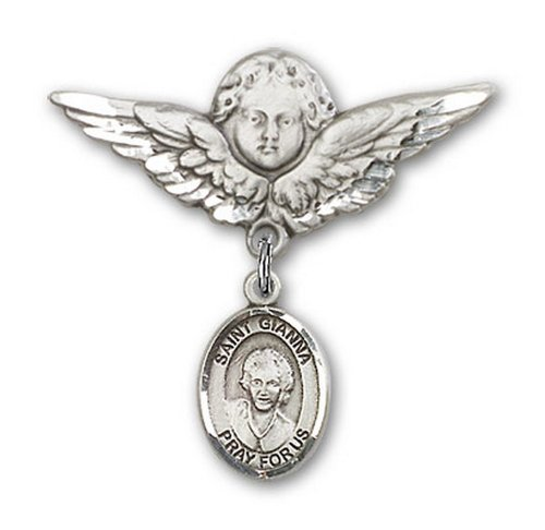 Icecarats Créatrice De Bijoux En Argent Sterling St. Gianna Beretta Molla Charme Ange Broche De Badge 1 1/8 X 1 1/8