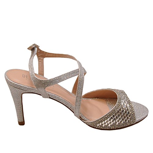 Blossom Rita 8 Women's Strappy Embellished Formal Heels (8, Silver) (Strappy Low Heel Sandal With Crystals By Blossom)