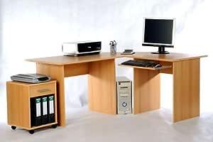 Mesa de ordenador de esquina escritorio haya 170 x 140 x 74 Hx67T ...