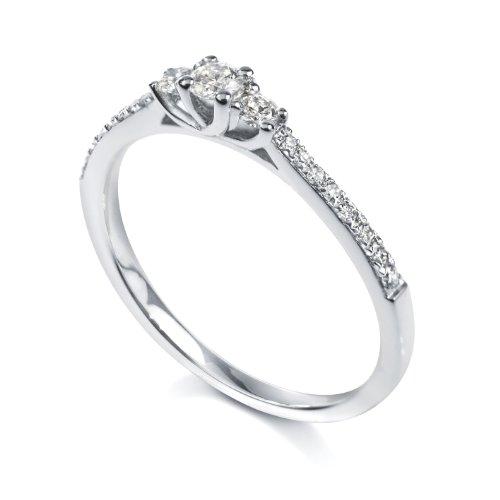 Tous mes bijoux - BADO01056 - Bague Solitaire Femme - Or blanc 750/00 1.7 gr - Diamant 0.3 cts