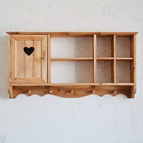 陳列棚は ぶら下げディスプレイラック入り口壁掛け木製コートラックリビングルームブック収納ディスプレイスタンドフックデザイン大容量収納 DWWSP (Color : Wood color)