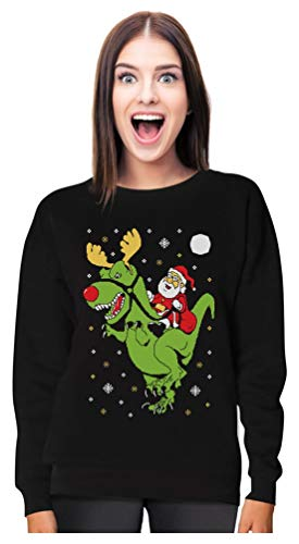 T-Rex Santa Ride Funny Ugly Christmas Sweater Women Sweatshirt Small Black