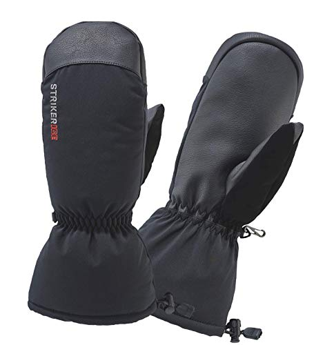 Striker Ice Men's Warm Waterproof Insulated Tundra Mitts, Black, Large