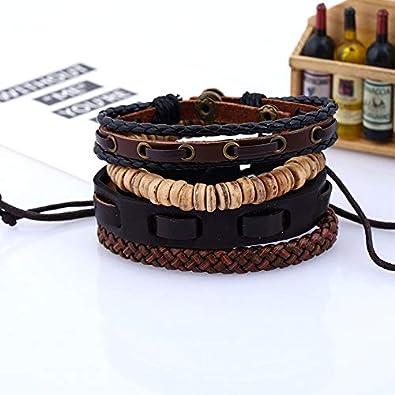 Cosanter Herren Armb/änder Retro Stil Mehrschichtiges Leder Seil Gewebt Einstellbare L/änge