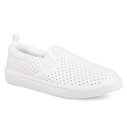 [SBK400-WHT-T6] Chillipop Slip-On Sneakers for Girls, Boys & Toddlers, Perforated Design, White
