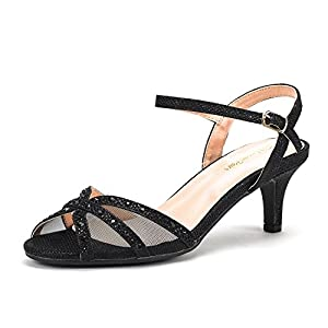DREAM PAIRS Women's Nina Low Heel Pump Sandals