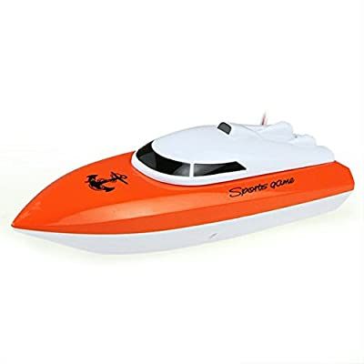 SZJJX RC Boat Remote Control Racing Boat High Speed Electric 4 Channels for Pools, Lakes and Outdoor Adventure JX802 Orange
