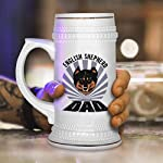 Custom Beer Mug Dad English Shepherd Dog Ceramic Drinking Glasses Beer Gifts White 18 OZ Design Only 11