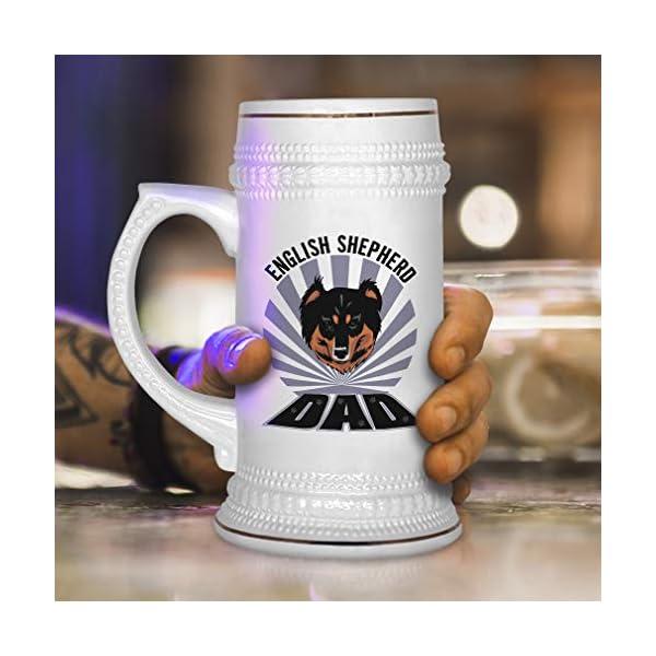 Custom Beer Mug Dad English Shepherd Dog Ceramic Drinking Glasses Beer Gifts White 18 OZ Design Only 4