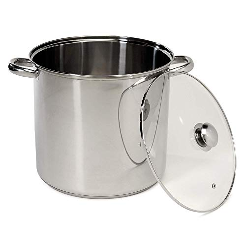4-Gallon Stock Pot 16 Quart Stainless Steel Stockpot with Encapsulated Base Constructed in Stainless for Durability See-Through Tempered Glass Lid Encapsulated Base Ensures Even Faster Heat Distributi (4 Gallon Stew Pot)
