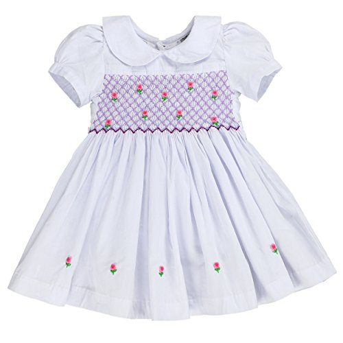 sissymini Infant & Cotton Super Soft Cotton Hand Smocked Dress Lala Dakota - Denim (9-12M) (White Baby Dress Smocked)