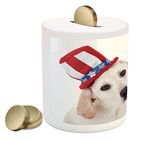 Ambesonne 4th of July Piggy Bank, White Dog with a Uncle Sam Hat Independence Day Celebration, Printed Ceramic Coin Bank Money Box for Cash Saving, Multicolor