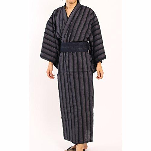 Edoten Men's Kimono Japan Shijira Weaving Yukata 709 GY XL by Edoten
