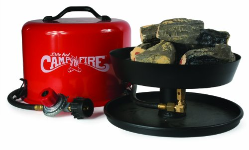 Camco Little Red Campfire 11.25-Inch Portable Propane Outdoor Camp Fire by, Approved For RV Campgrounds - 65,000 BTU's Includes 8 Foot Propane Hose - Red Propane