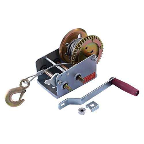 2000lb-1-Ton-Hand-Crank-Steel-Gear-Cable-Wire-Winch-Boat-ATV-Trailer-wHook-supplyfromideacharms