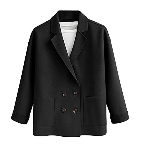 New Belted Safari Jacket - NUWFOR Womens Lapel Double Breasted Trench Coat Long Sleeves Jacket Open Front Cardigans for Winter/Full(Black,XL)