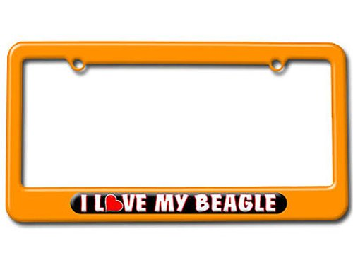 Orange I Love Heart My Beagle License Plate Frame