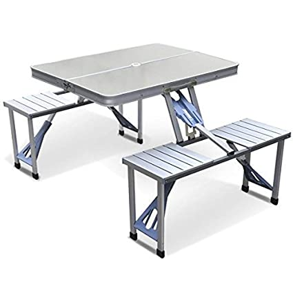 Stupendous Yaheetech Aluminum Picnic Time Portable Folding Picnic Table With Seating For 4 Silver Uwap Interior Chair Design Uwaporg