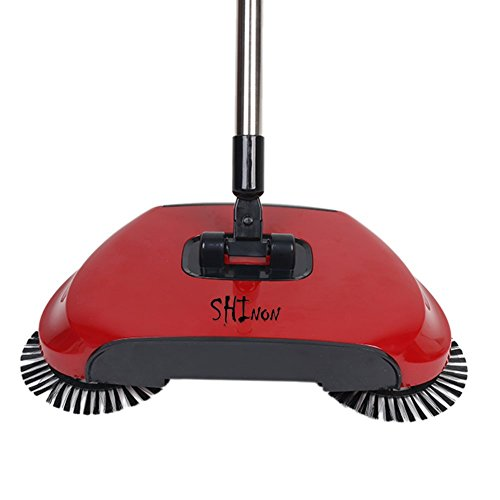 3 in 1 Household Lazy Automatic Hand Push Sweeper Broom 360 Degree Rotating Cleaning Machine Sweeping Tool Without Electricity Dustpan Trash Bin (Red) by SHINENGkeji (Image #9)