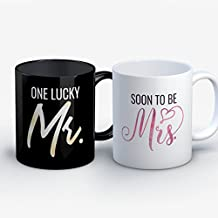 Engagement Coffee Mug - One Lucky Mr Soon To Be Mrs Engagement Funny 11 oz Black White Tea Cups - Unique Engagement Sayings Gag Gifts