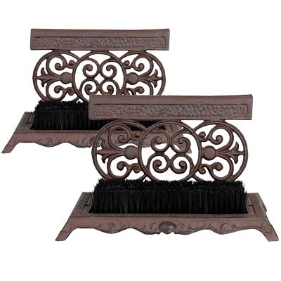 Cast Iron Scrollwork Boot Scrapers with Brushes, Set of 2