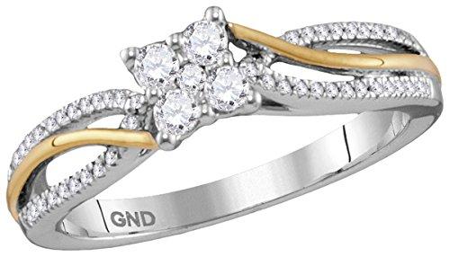 Two Tone Diamond Promise Ring - 8