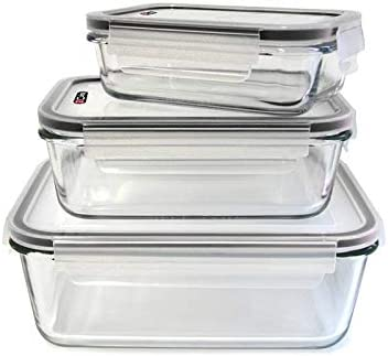 Set de 3 contenedores de vidrio para horno y tapas herméticas ...