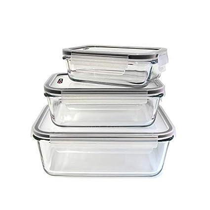 Set de 3 contenedores de vidrio para horno y tapas herméticas