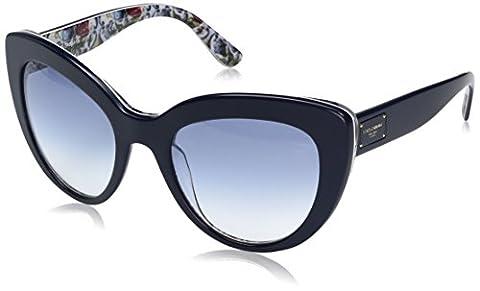 Dolce & Gabbana Women's Acetate Woman Cateye Sunglasses, Top Blue on Majolica, 53 (Nuovo D & G Degli Occhiali)