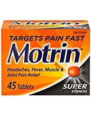 Motrin Super Strength Tablets, Pain Reliever for Menstrual Pain, Back Pain, Ibuprofen 400mg, 45 Tablets
