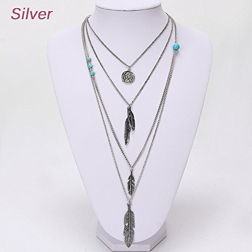Phonphisai shop Vintage Bohemia Necklace Jewelry Multilayer Coin Feather Pendant Long Chain Color Silver