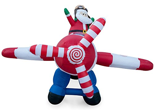 animated 8 foot wide christmas inflatable santa claus flying