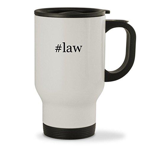 #law - 14oz Hashtag Sturdy Stainless Steel Travel Mug, White
