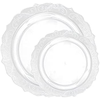Posh Setting Elegant Collection Combo Pack China Look Clear Plastic Plates(Includes 8 Packs of 10 Plates 40 10.25u0027u0027 Dinner Plates and 40 7.25u0027u0027 Salad ...  sc 1 st  Amazon.com & Amazon.com: Posh Setting Antique Collection Combo Pack China Look ...