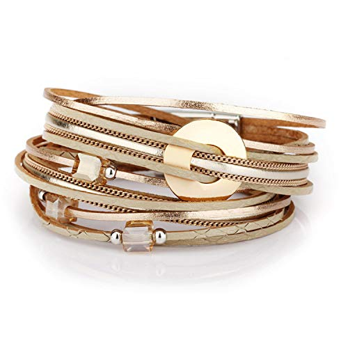 Jewelry Bracelet Ladies in 3 Colors Women Leather Long Bracelet with Crystal Beads and Metal Charms Gold ()
