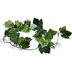 SunGrow Natural Looking Reptile Plants - Vibrant Green Terrarium Plastic Plants 6.5ft Easy to Clean Silk Leaves - Creates Natural Hiding Spot for Reptiles and Amphibians - Suction Cups Included