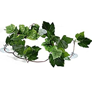 SunGrow Natural Looking Reptile Plants - Vibrant Green Terrarium Plastic Plants 6.5ft Easy to Clean Silk Leaves - Creates Natural Hiding Spot for Reptiles and Amphibians - Suction Cups Included 1