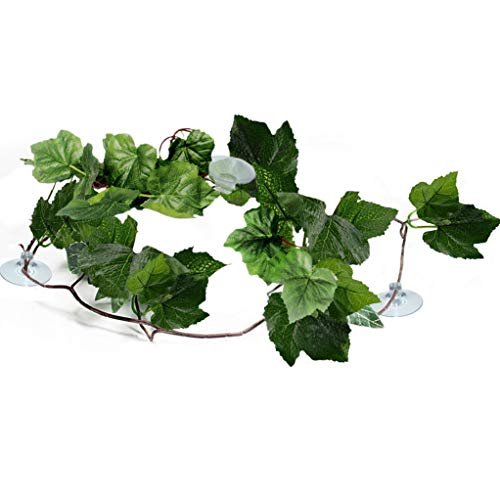 ing Reptile Plants - Vibrant Green Terrarium Plastic Plants 6.5ft Easy to Clean Silk Leaves - Creates Natural Hiding Spot for Reptiles and Amphibians - Suction Cups Included ()
