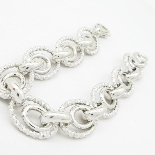 Pour femme en argent Sterling, bracelet lien mbmi78 rond
