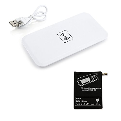 GEARONIC TM Qi Wireless Charger Charging Pad + Receiver Kit For Samsung Galaxy S5 SV i9600