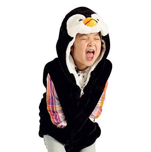 Hanstyle Cartoon Toddler/kids/child Role Play Costume Warm Hooded Animals Vest (S(3-5Y), Penguin) -
