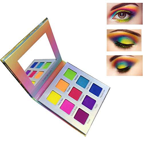 Neon Eyes - Highly Pigmented Eyeshadow Palette,YMH BEAUTE 9 Bright Colors Eye Shadow Palettes Matte Eyeshadow Makeup Palette Long Lasting Waterproof Colorful Cosmetics, Rainbow