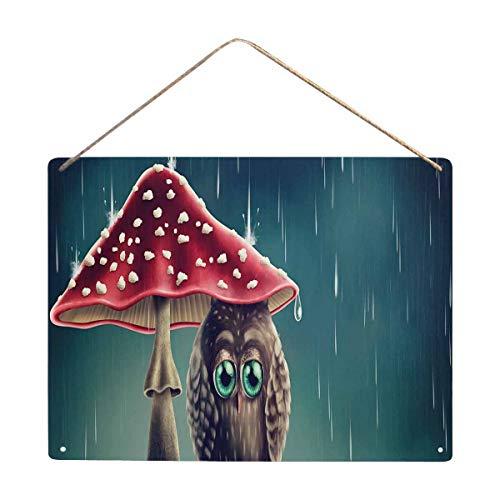 InterestPrint Little Owl Sitting Under Mushrooms Art Wall Plaque Poster Decor Party ()
