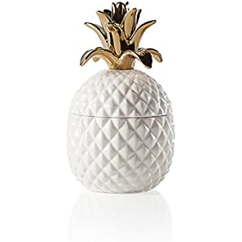 Torre & Tagus Pineapple Gold Crown White Ceramic Canister-Short